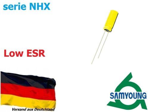 3x15 Series NHX LOW ESR 10 piece-Elko Capacitor Radial Samyoung 220uF 25V Ø6
