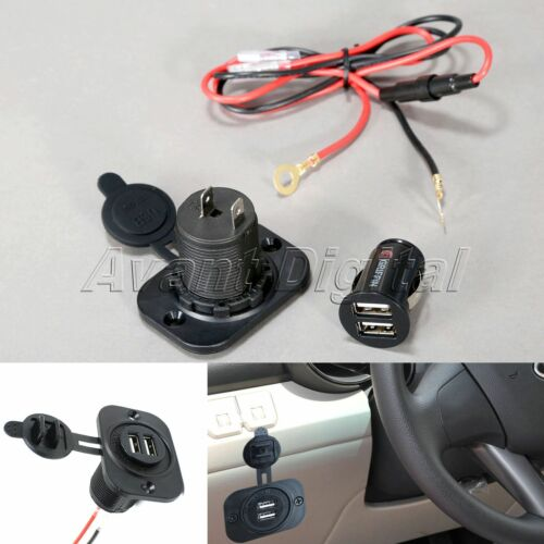 12V Car Motorcycle Dual USB Ports GPS Phone Power Charger Supply Outlet Adapter