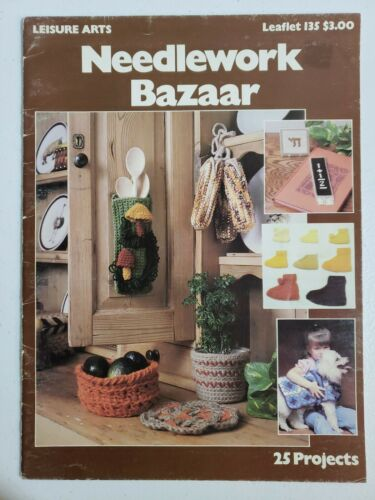 242 Leisure Arts Crochet Needlework Bazaar Pattern Booklet 25 Projects