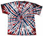 Tie Dye T-Shirt Red, White & Blue Short Sleeve S M L XL 2XL 3XL