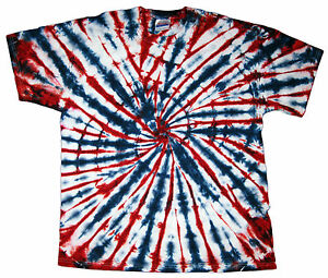Tie dye t shirt red white blue short sleeve s m l xl for How to dye a shirt red