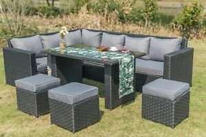 2020 New Barcelona Range Rattan Garden Furniture Sofa Set 9 Seater Dining Set Ebay