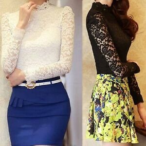 Women-Beige-Lace-Tops-Long-Sleeve-Shirt-Slim-Fit-Blouse-Business-Career-OL-New
