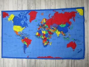 Details about 1999 Fabric Traditions Quilt Panel World Map 100% Cotton on map print, map in europe, map art projects, map with mountains, map duvet cover, map quotes, map party decor, map mobile, map project ideas, map jewelry, map with states, map recipe, map fabric, map bedding, map ne usa, map with compass, map design, map quip, map skirt, map crib set,