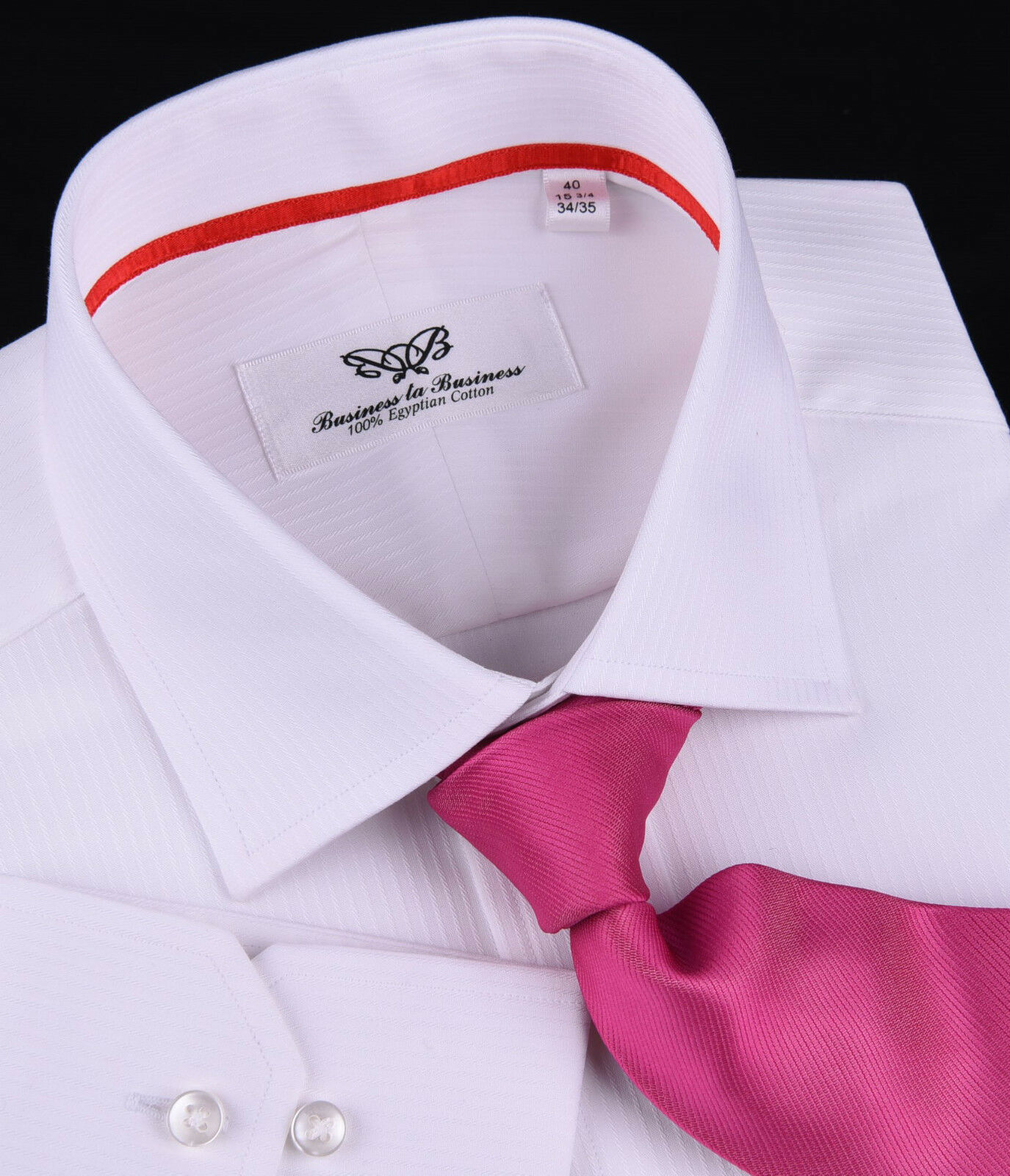 Mens Classic White Twill Stripe Formal Business Dress Shirt Luxury Boss Red Trim