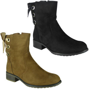 New-Womens-Ladies-Low-Heel-Ankle-Zip-Casual-Work-Lace-Up-Ribbon-Boots-Shoes-Size