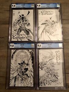Spawn-300-CGC-9-8-Black-And-White-Inked-Variants-ALL-FOUR-Complete-Set-HOT-KEY