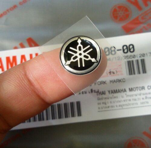 YAMAHA LOGO GENUINE 12 mm TUNING FORK  BLACK SILVER STICKER EMBLEM DECAL