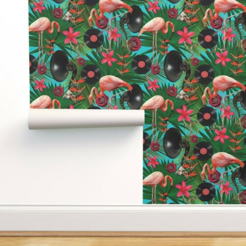 Removable Water-Activated Wallpaper Tropical Tunes Summer Flamingo Beach Decor