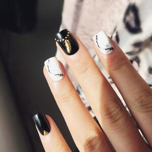 Details About Elegant Press On Fake Nails Square Short Black And White Pattern Manicure Diy
