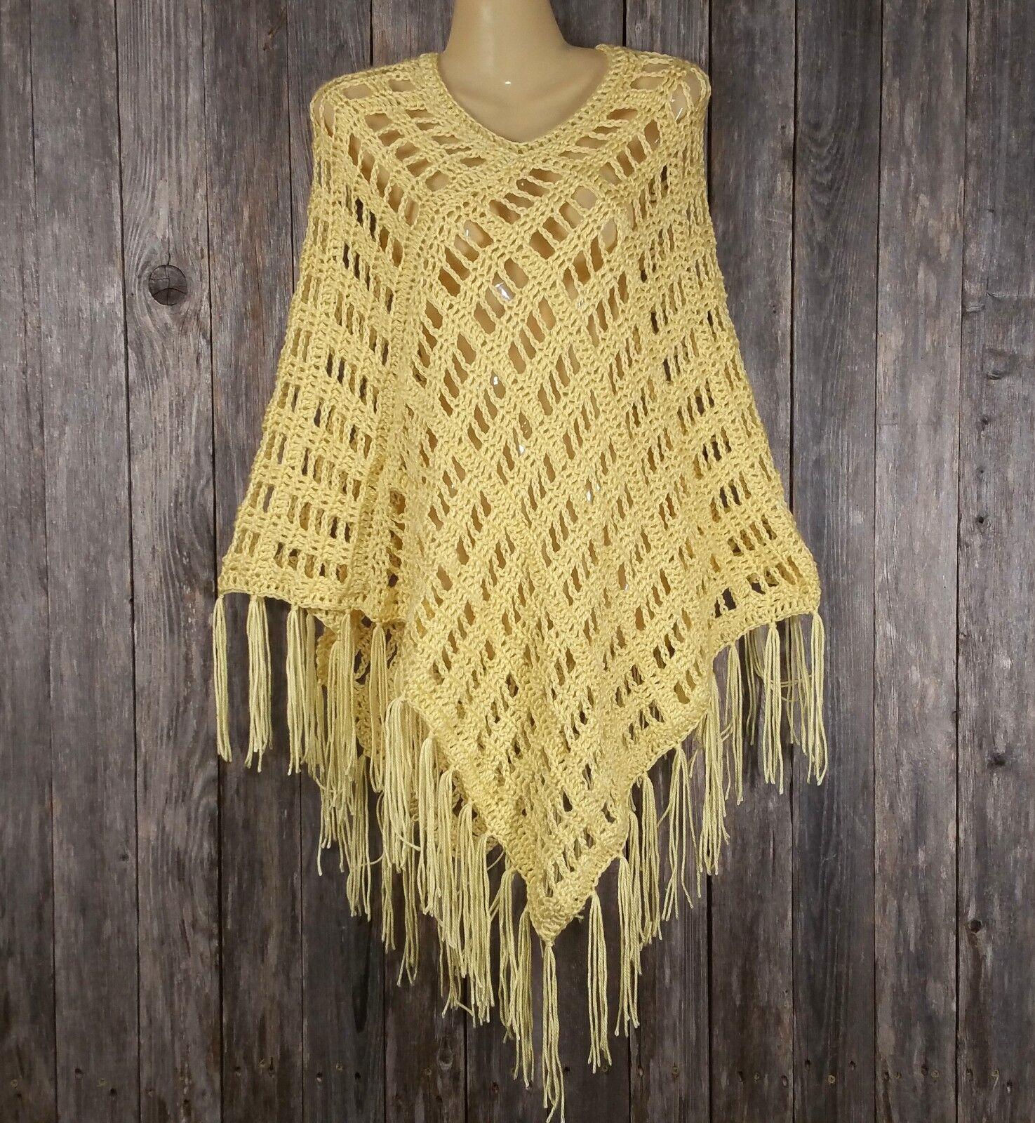 Hecho a mano para mujer Nuevo amarillo Mano Crochet Crochet Crochet Flecos Poncho Suéter Boho Hippie Suave 9658d7
