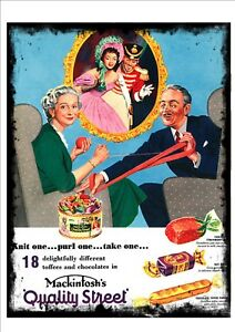Quality Street Christmas Vintage Advertising Sign Reproduction Metal