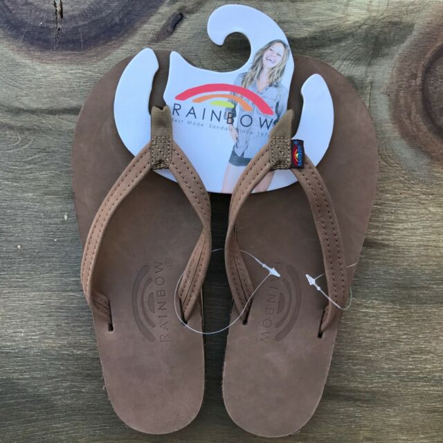 Women Rainbow Sandals Thin Strap Dark Brown Premier Leather Single Layer