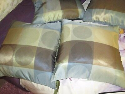 2 Blue Brown Gold Circle Zip Up Accent Decorative Throw Pillow