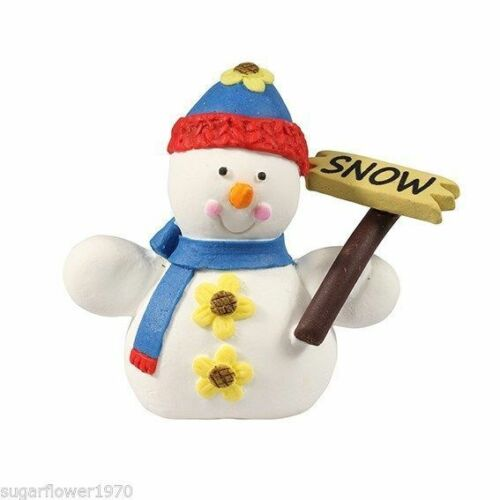Snowman with sign sugarpaste Christmas Cake Decoration Topper FAST DESPATCH