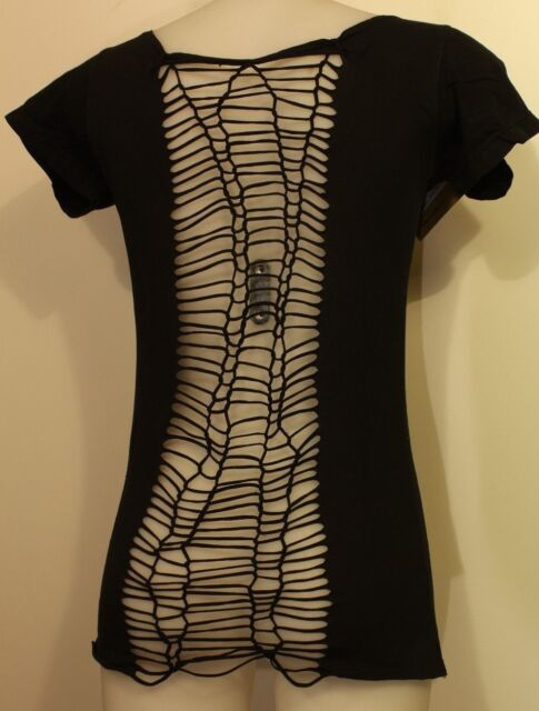 Women's Festival Look Black T-Shirt with Stunning Snakeskin Effect Knotted Back