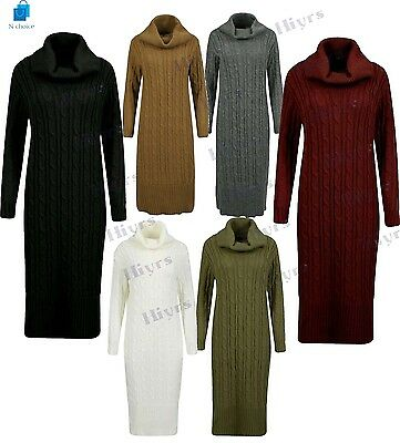 Womens Knitted Dress Turtleneck Cable Maxi long warm Sweater Dress Winter Jumper