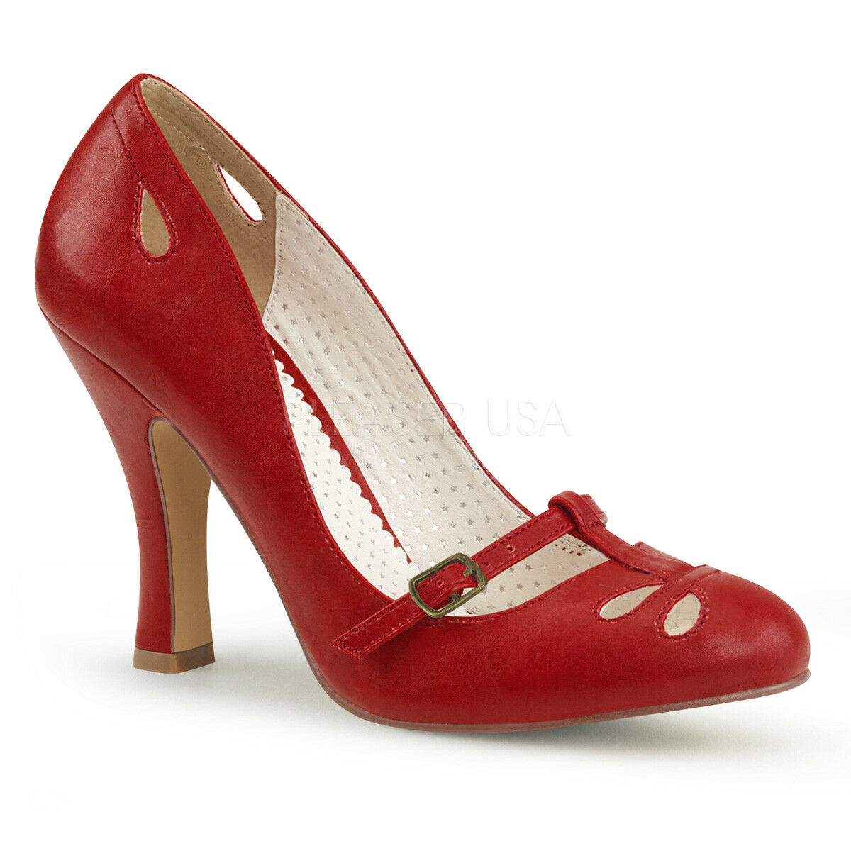 Pin Up Couture SMITTEN-20 Red  Red SMITTEN-20 Retro Vintage Dressy Pin Up Mary Jane Pump Heels dcf2d4