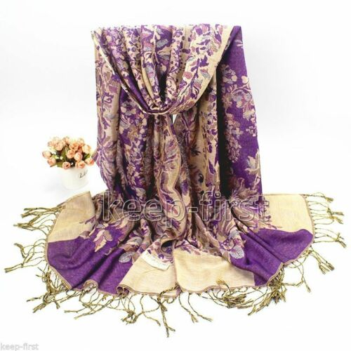 Purple Fashion Women/'s Long Soft Floral Pashmina Shawl Wrap Stole Cashmere Scarf