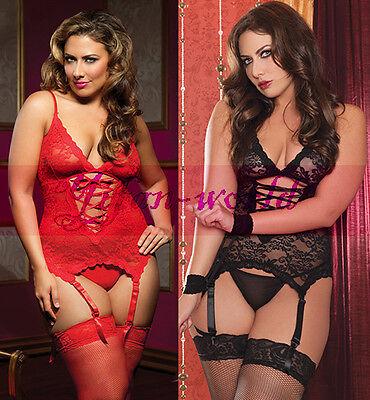 Women's Sexy Lace Dress Lingerie+ Handcuff + G-string Plus Size M/L/XL/2XL/3XL