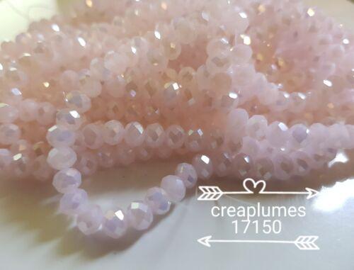 Chapelet de 95 perles en verre à facettes 6x4mm ab rose