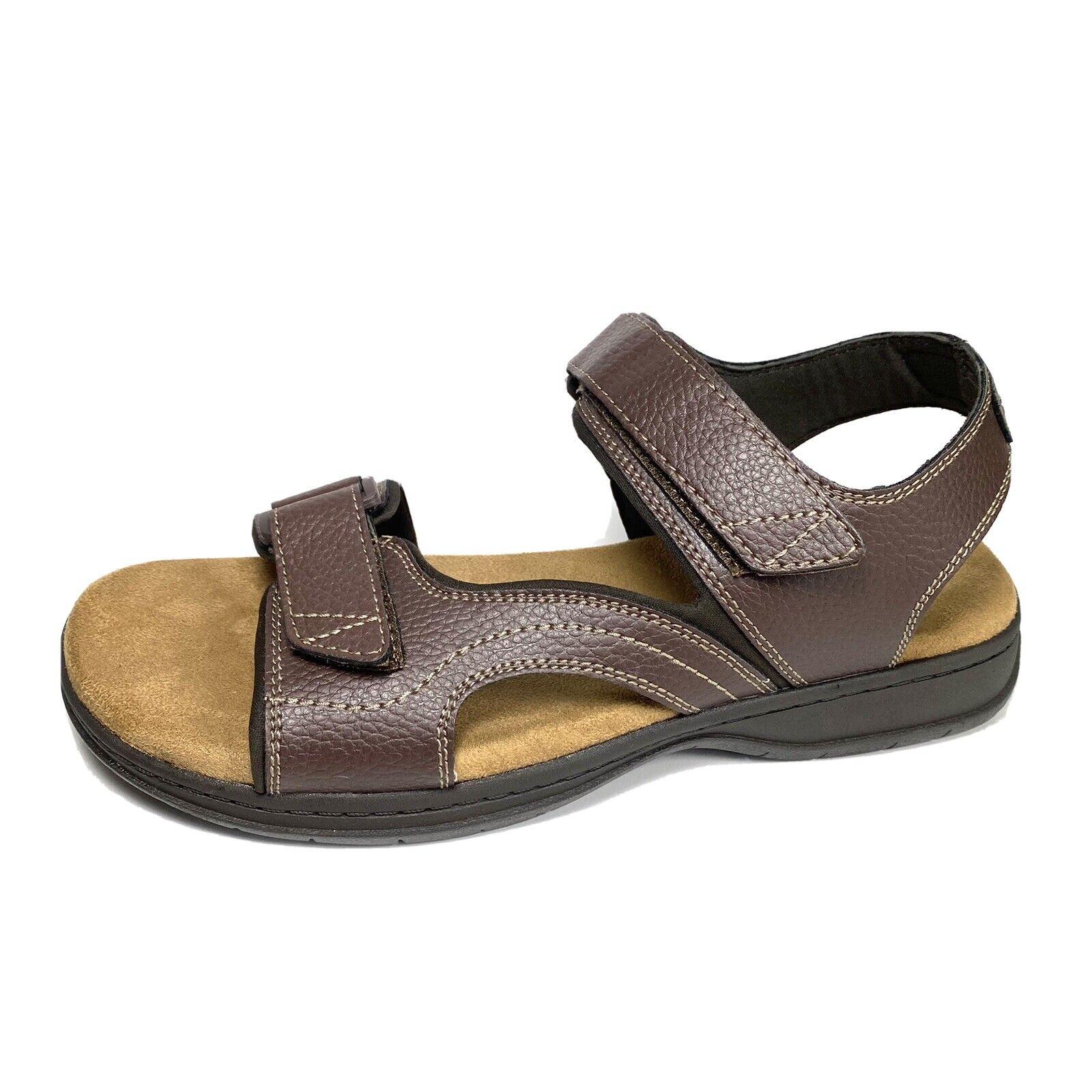 Dr. Scholl's Penn Mens Brown Leather Adjustable Sandals Ankle Strap Comfort 10 M
