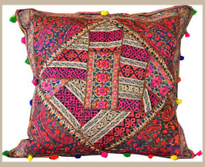 Hand-Crafted-Silk-Recycled-Embroidered-Patchwork-24-034-Pillow-Cover-from-India