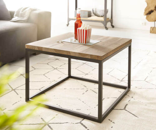 Table basse TATIUS Sheesham Nature 60x60 cm métal châssis noir salon table