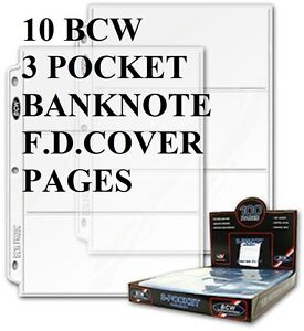 10-BCW-3-POCKET-PAGES-BANKNOTES-OR-SMALL-FIRST-DAY-COVERS