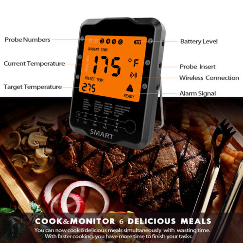 Bluetooth Smart BBQ Barbecue Meat Thermometer Digital Kitchen Cooking+6 Probes