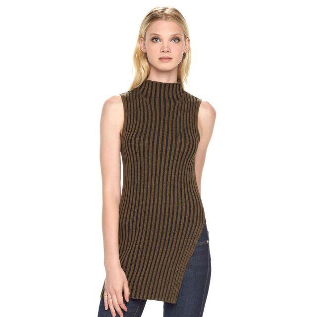 a943da4dd6c77 Rock   Republic Sleeveless Turtleneck Sweater Top Tunic Brown Black ...