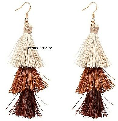 Brown Tassel Dangle Hook Boho Three Tiered Fringe Earrings NEW NWT 20-7