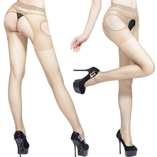 Women Pantyhose Tights Long Suspender Open Crotch Stockings Hosiery Crotchless