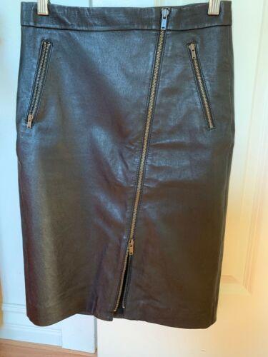 J Crew Collection Black Leather Pencil Skirt, Sz 2