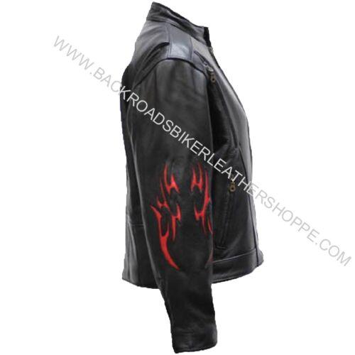 style moto pour Xs de Taille flammes en cuir tribales 4x femme coureur Veste TRxZY4