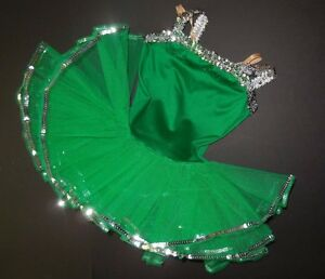 NWT-Ballet-Costume-Kelly-Green-w-Silver-Sequin-attached-tutu-adjustable-strap