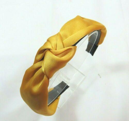 Woman/'s Top Knot Mustard Satin Hard Headband 1 1//4 inches wide Grip teeth Dressy