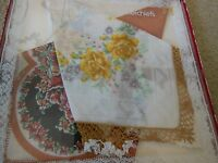Vintage Pair Of Ladies Floral Handkerchiefs Lace Edging In Original Box