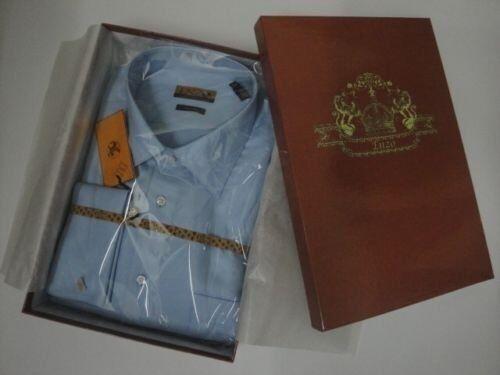 33 Blue 32 hombre 15 mangas francesas Camisa Manguito Twill para vestir 826635018704 Enzo de en M Italia gCwZnRq