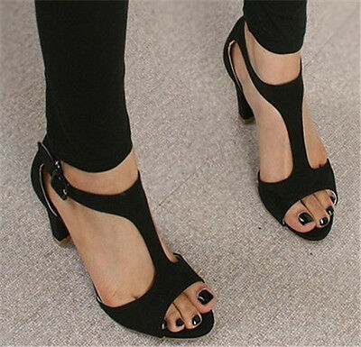Ladies  Summer Open Toe Med Heel T-Strap Sandals Shoes Plus Size