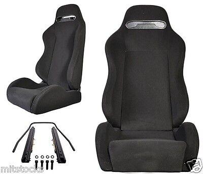 NEW 2 BLACK CLOTH + BLACK STITCH RACING SEATS RECLINABLE ALL CHEVROLET **