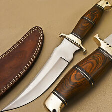 SUPERB HAND MADE STAINLESS STEEL BLADE HUNTING KNIFE - HARD WOOD - T-457