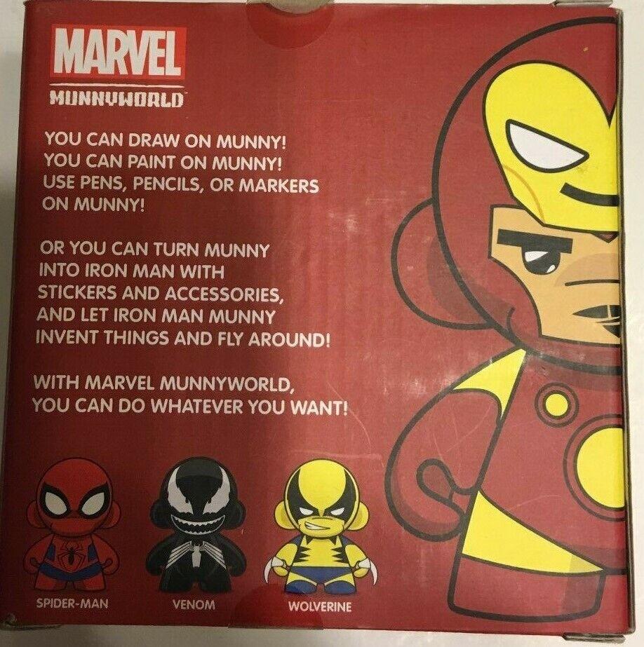 "IRON MAN MINI MUNNY 4/"" DIY DESIGNER VINYL TOY FIGURE KIDROBOT MUNNYWORLD MARVEL"