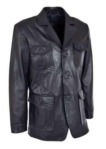 70's Leather Mens Hunters Jacket Black Coat Retro Safari Classic Reefer Blazer tr8qtnY