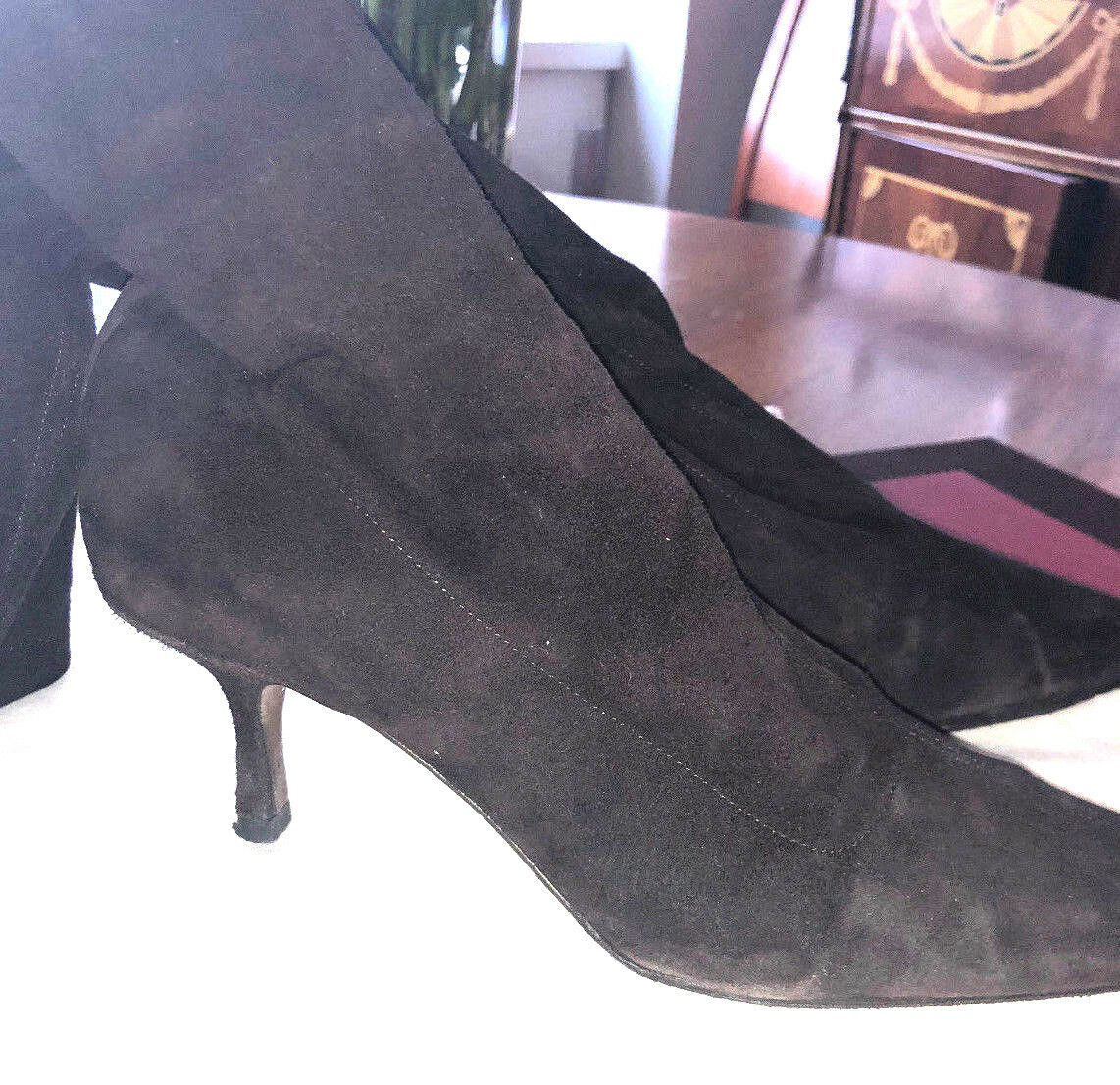 Jimmy Choo Brown Stretch Suede Leather 3 4 Boots Heel Booties Sz 38 US 8