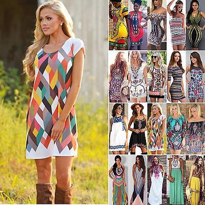 Azteken Tribal Muster Damen Sommer Strandkleid Boho Kleider Minikleid Maxikleid