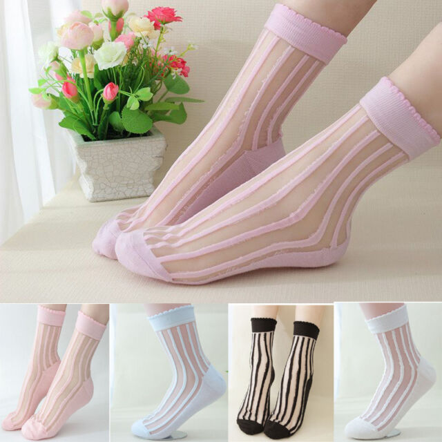 New Woman Cute Short Socks Ultrathin Transparent Crystal Lace Elastic Ankle Sock