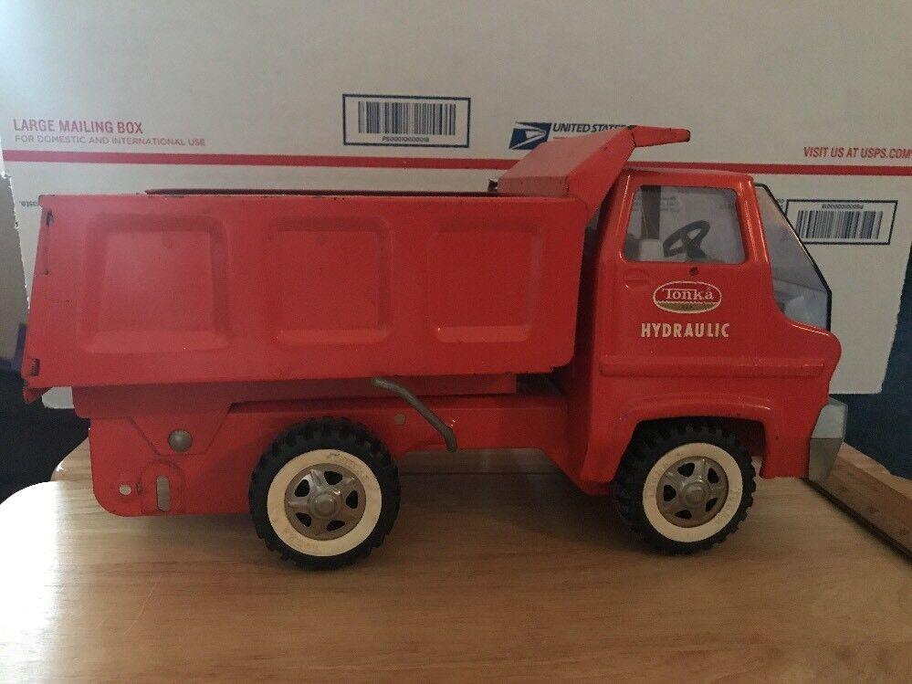 orange Tonka Hydraulic Dump Truck Pressed Steel Metal Vintage 1960's