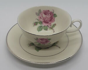 4-Ancestral-AM-Hostess-Manor-Rose-Platinum-Trim-Footed-Cups-and-Saucers