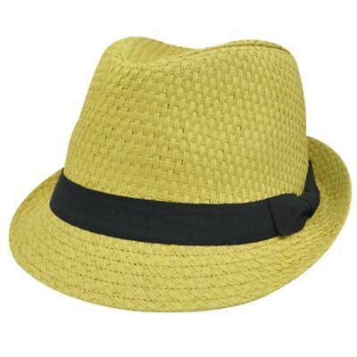 2019 Moda Cappello Trilby Fedora Kaki Tessuto Tweed Carta Paglia Blk Small Med